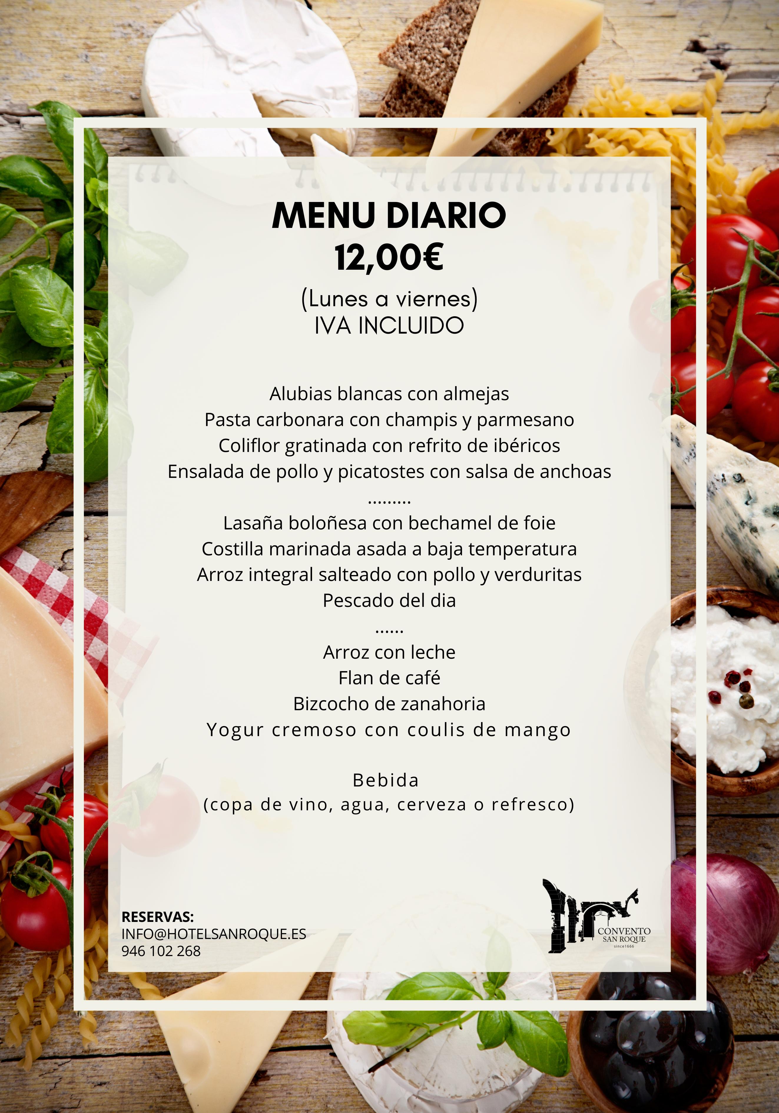 menu del día Convento